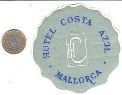 ETIQUETA DE HOTEL  - HOTEL COSTA AZUL  -MALLORCA - Etiquetas De Hotel