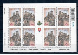 SAN MARINO 2007 - EMISSIONE CONGIUNTA SAN MARINO SLOVACCHIA - MF  - MNH** - San Marino