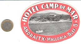 ETIQUETA DE HOTEL  - HOTEL CAMP DE MAR  -ANDRAITX  -MALLORCA - Etiquetas De Hotel