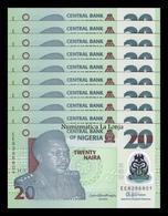 Nigeria Lot Bundle 10 Banknotes 20 Naira 2018 Pick New Polymer SC UNC - Nigeria