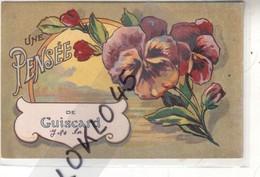 60 UNE PENSEE DE GUISCARD ( Oise ) - Dessin Bouquet De Pensée  Violette Sur Fond De Nature - CPA GH PARIS - Guiscard