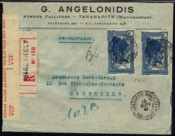 "Madagascar - 1941 ""G. Angelonidis Tananarive"" N° 176 A Sur Enveloppe Recommandée De Analakely, Pour Marseille - B/TB - - Storia Postale"