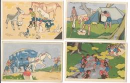 Lot 4 Cartes Illustrées Eclaireurs Unionistes De France Alain Saint Ogan / L80 - Padvinderij