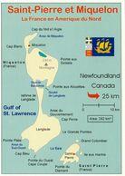 1 Map Of Saint-Pierre Et Miquelon * Landkarte Von Saint-Pierre Et Miquelon Franz. Überseegebiet Im Nordatlantik * - Landkarten