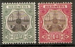BERMUDA 1902 - 1903 ½d And 1d SG 31/32 WATERMARK CROWN CA MOUNTED MINT Cat £22 - Bermuda