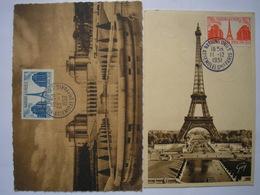 2 Cartes Postales Différentes De L'assemblée Générale Des Nations-Unies à Paris ( Tour Eiffel Et Palais Chaillot ) - Marcophilie (Lettres)