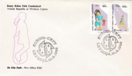 Türkisch-Zypern, 1989, 249/50 C, Europa: Kinderspiele. FDC - Cyprus (Turkey)