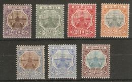 BERMUDA 1906 - 1910 SET TO TOP VALUES SG 34, 36, 38 - 42 MOUNTED MINT Cat £128+ - Bermuda