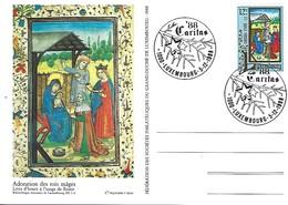 5.12.1988  -  Adoration Des Rois Mâges  Livre D'heure à L'usage De Rome- Timbre Caritas - Impr.Fr.Faber - FDC