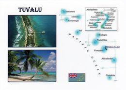 1 Map Of Tuvalu * 1 Ansichtskarte Mit Der Landkarte Von Tuvalu Mit Flagge Und 2 Ansichten * - Landkarten