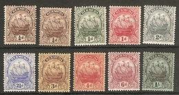 BERMUDA 1910 - 1925 SET SG 44/51 MOUNTED MINT Cat £61+ - Bermuda