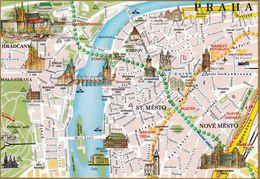 1 Map Of Czech Republic * 1 Ansichtskarte Mit Der Landkarte Von Der Hauptstadt Prag * - Landkarten
