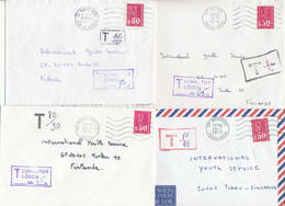 France 1973-76 8 Postage Due Covers To Finland, Bequet - 1971-76 Marianne Of Béquet