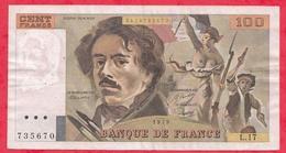 """France 100 Francs """"Delacroix"""" 1979----F/TTB+---ALPH L.17 - 1962-1997 ''Francs''"""