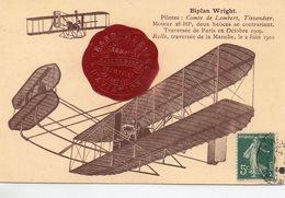 Aviation Biplan Wright Pilote Comte De Lambert Tissandier - Aviateurs
