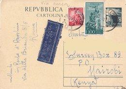 Cartolina Postale Diretta In Kenia Da Torino Per Posta Aerea - 1949 - 6. 1946-.. Repubblica