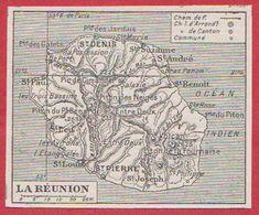 Carte De L'île De Réunion. Larousse 1920 - Vieux Papiers