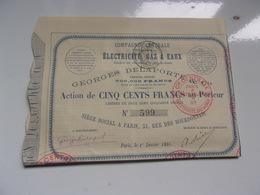 Compagnie Centrale D'installations électricité,gaz & Eaux (georges Delaporte)1886 - Actions & Titres
