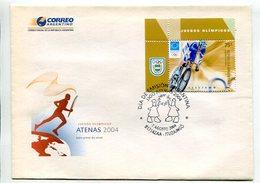 CICLISMO - ATENAS 2004, JUEGOS OLIMPICOS. ARGENTINA AÑO 2004 SOBRE PRIMER DIA ENVELOPE FDC -LILHU - Ciclismo
