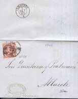 Año 1862 Edifil 58 4c Isabel II Carta De Valencia Matasellos Rueda De Carreta 16 Albacete ERROR  Debe Ser Rueda 8 - 1850-68 Königreich: Isabella II.