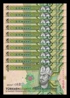 Turkmenistan Lot Bundle 10 Banknotes 1 Manat 2014 Pick 29b SC UNC - Turkmenistan