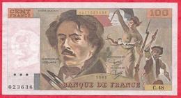"""France 100 Francs """"Delacroix"""" 1981----VF/SUP---ALPH C.48---4 TROU D EPINGLE - 1962-1997 ''Francs''"""