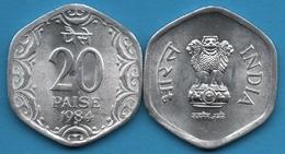 INDIA 20 PAISE 1984 * KM# 44 Hyderabad Mint - India