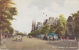 Fife; South Street St Andrews. Valentine Art Colour Postcard - Fife
