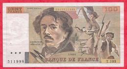 "France 100 Francs ""Delacroix"" 1986----VF/SUP---ALPH T.103 - 1962-1997 ''Francs''"