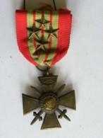 Médaille Croix De Guerre 1939-1940 , 4 Citations - Francia