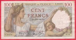 "France 100 Francs ""Sully"" Du 04/12/1941.E.D----F/TTB+---ALPH .N.26476--AUCUN TROU D EPINGLE - 1871-1952 Circulated During XXth"