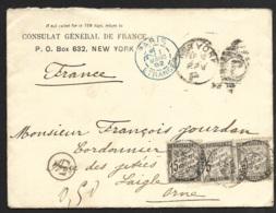 Enveloppe De New York Taxée à L'arrivée à L'Aigle Orne-Cachet Bleu Paris Etranger - 1877-1920: Période Semi Moderne