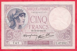 """France 5 Francs """"Violet"""" Du 12/12/1940.E.S----XF/SUP+---ALPH .U.67282 - 1871-1952 Circulated During XXth"""