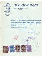 1936 YUGOSLAVIA, CROATIA, LETTERHEAD MR. DRASKO VILFAN, ZAGREB, 5 FISKAL STAMPS, MONEY RECEIPT - Invoices & Commercial Documents