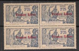 Réunion - 1943 - N°Yv. 217 - France Libre - Expo NY 2f25 - Bloc De 4 - Neuf GC ** / MNH / Postfrisch - Réunion (1852-1975)