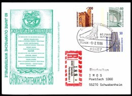 Germany Garmisch-Partenkirchen 1996 60 Years Of Olympic Games 1936 Alpine Skiing R Letter Einschreibebrief 82467 GP 1 - Winter 1936: Garmisch-Partenkirchen