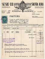 1938 YUGOSLAVIA, SLOVENIA, ŠKOFJA LOKA, SESIR D.D. INVOICE ON A FACTORY LETTERHEAD,TO BELA CRKVA, SERBIA, 1 FISKAL STAMP - Invoices & Commercial Documents