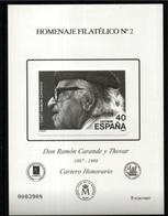 ESPAÑA SPAIN ESPAGNE SPANIEN EDIFIL HOMENAJE FILATÉLICO 2 RAMÓN CARANDE Y THOVAR 2006 MNH - 1931-Hoy: 2ª República - ... Juan Carlos I
