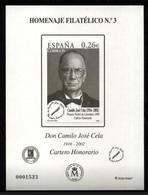 ESPAÑA SPAIN ESPAGNE SPANIEN EDIFIL HOMENAJE FILATÉLICO 3 CAMILO JOSÉ CELA 2007 MNH - 1931-Hoy: 2ª República - ... Juan Carlos I