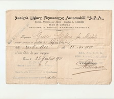 """DS--00008-- """" SOCIETA' LIGURE PIEMONTESE AUTOMOBILI """"S.P.A.OFFICINE IN TORINO-BARRIERA CROCETTA - Vecchi Documenti"""