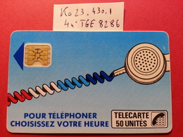 Ko23 .430.1 Cordon Bleu Jean 50u SC4obSE Carte Pliée - Texte 7 Sous E - Trou 7 - Lot 4 TGE N°8286 Léger Pli Vers La Puce - France