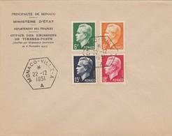 MONACO - LETTRE 22.12.1951  - PRINCE RAINIER III - Yv N° 365 à 368 /1 - Monaco