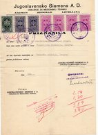 1930s YUGOSLAVIA, SERBIA, BELGRADE, SIEMENS A.D. INVOICE ON A FACTORY LETTERHEAD, 7 FISKAL STAMPS - Invoices & Commercial Documents