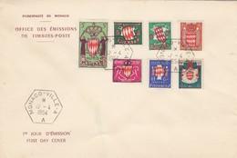 MONACO - FDC 12.4.1954 - ARMOIRIES  - Yv N° 405 à 411  /1 - Monaco
