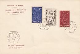 MONACO - FDC 12.4.1954 EN L'HONNEUR DE JEAN BAPTISTE DE LA SALLE  - Yv N° 402-403-404 /1 - FDC