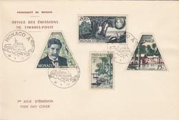MONACO - FDC 14.1.1955 - 80e ANNIVERSAIRE Dr ALBERT SCHWEITZER   - Yv N° 412 à 414 - PA 59/1 - FDC