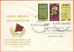 GERMANIA - GERMANY - Deutschland - ALLEMAGNE - DDR - 1968 - 150. Geburtstag Karl Marx - FDC - Viaggiata Da Berlin Per Lü - [6] Democratic Republic
