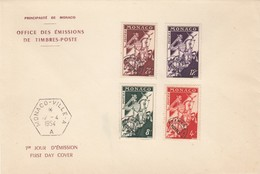 MONACO - FDC 12.4.1954 - SURCHARGE AFFRANCHIst POSTES - Yv N° 11-12-13-14 /2 - FDC