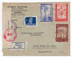 1947 YUGOSLAVIA, SLOVENIA,MARIBOR TO GRAZ, AUSTRIA, CENSORED, BRITISH ZONE, REGISTERED MAIL - 1945-1992 Socialist Federal Republic Of Yugoslavia