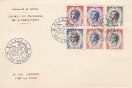 MONACO - FDC 7.6.1955 - PRINCE RAINIER III - Yv N° 421/426       /2 - FDC